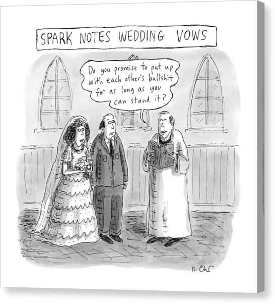 Spark Notes Marriage Vows -- A Minister Says Canvas Print