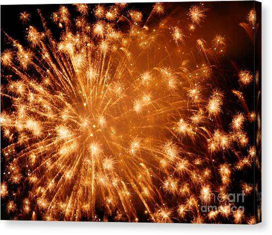 Sparkle Fireworks By Aclay Canvas Print