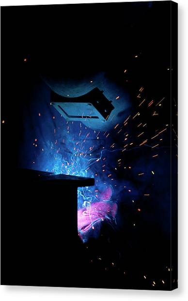 Protective Clothing Canvas Print - Sparks Flying From An Argon Welder At Work by Chris Knapton/science Photo Library