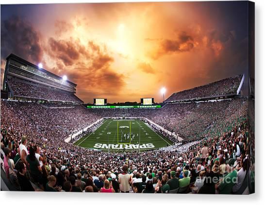 Michigan State University Canvas Print - Spartan Stadium by Rey Del Rio