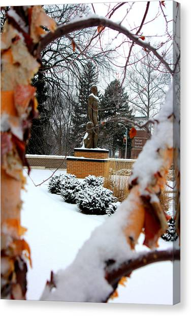 Michigan State University Canvas Print - Sparty In The Winter by John McGraw