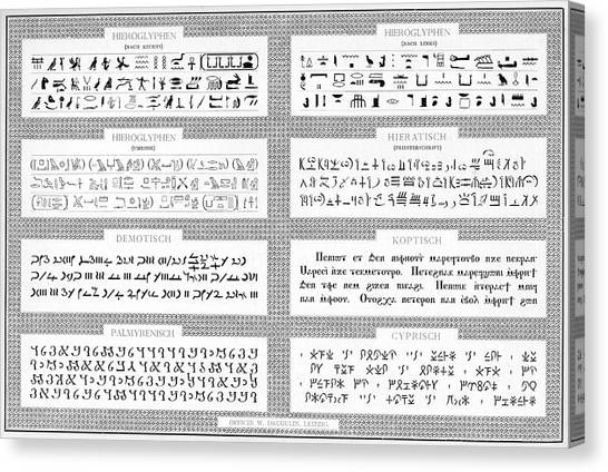Coptic Art Canvas Print - Specimens Of Hieroglyphs,  Demotic by Mary Evans Picture Library
