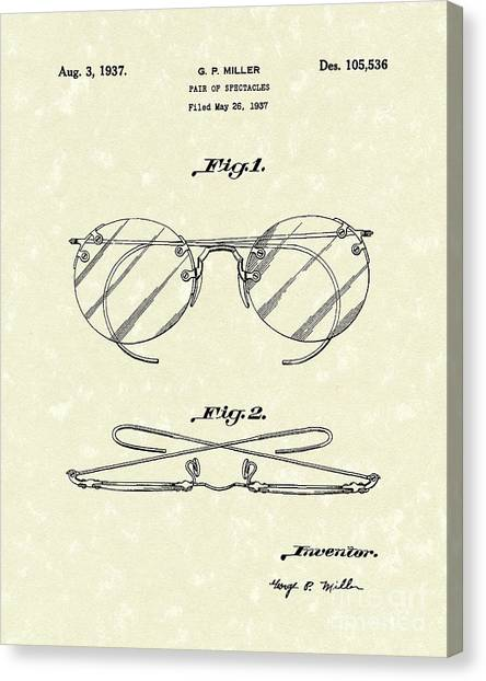 Spectacles 1937 Patent Art Canvas Print