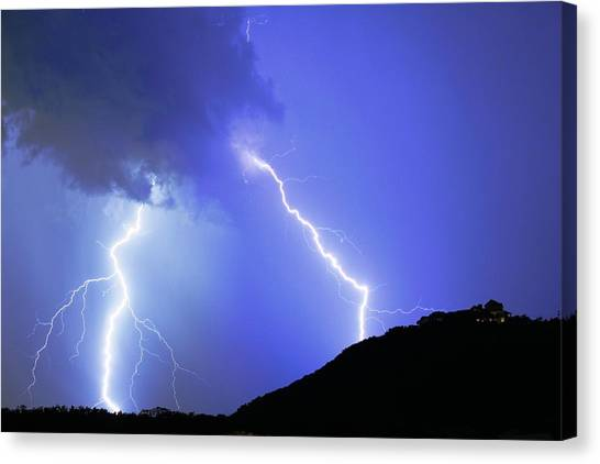 Spectacular Double Lightning Strike Canvas Print