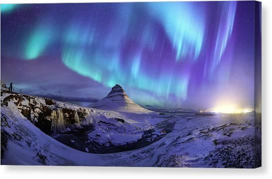 Spectacular Northern Lights Appear Over Mount Kirk Canvas Print by Ratnakorn Piyasirisorost