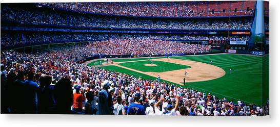 New York Mets Canvas Print - Spectators In A Baseball Stadium, Shea by Panoramic Images