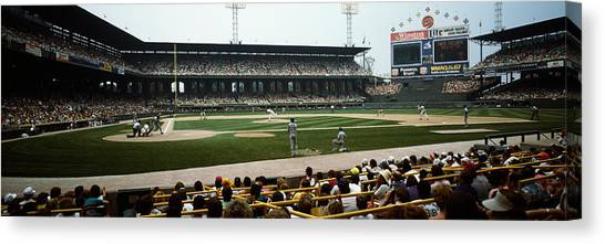Baseball Players Canvas Print - Spectators Watching A Baseball Match by Panoramic Images