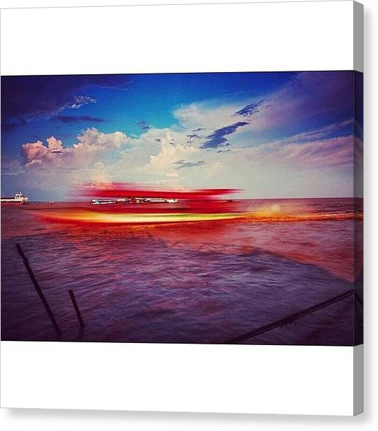 Sunny Canvas Print - Speed Boat Passing The Floating Village by Sunny Merindo