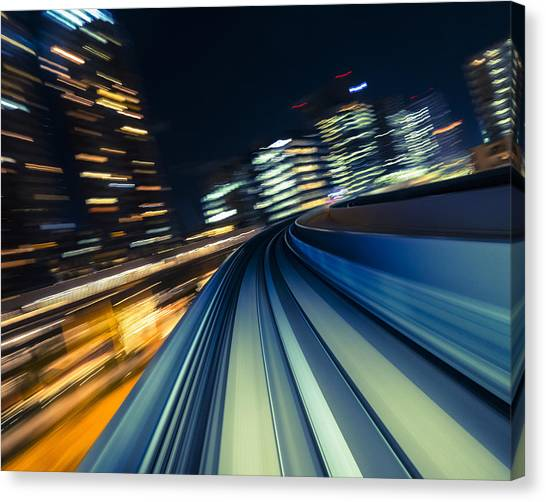 Bullet Trains Canvas Print - Speed In Blue And Gold  by Rich Legg