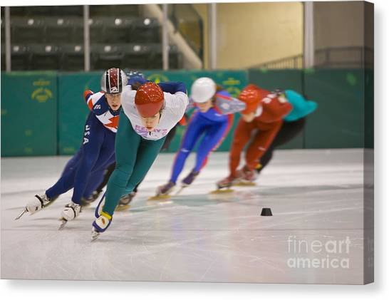 Speed Skating Canvas Print - Speed Skaters by Jim West