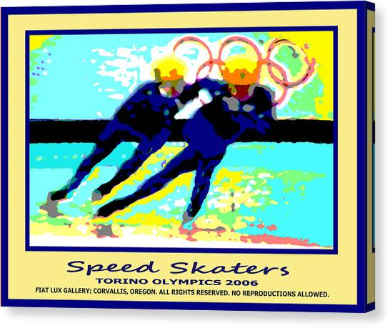 Speed Skating Canvas Print - Speed Skaters by Michael Moore