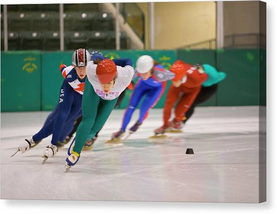 Speed Skating Canvas Print - Speed Skaters Training by Jim West