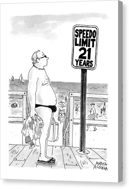 At The Beach Canvas Print - Speedo Limit: 21 Years by Marisa Acocella Marchetto