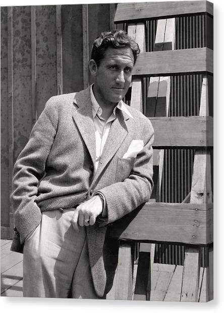 Spencer Tracy Wearing A Tweed Sports Jacket Canvas Print