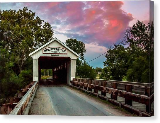 Spencerville Covered Bridge At Sunset Canvas Print
