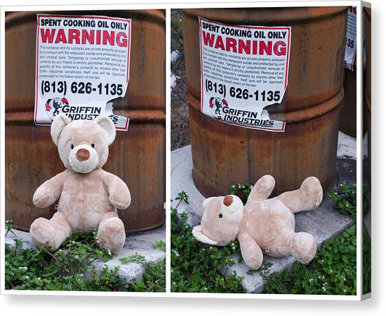 Care Bears Canvas Print - Spent Cooking Oil Warning by William Patrick