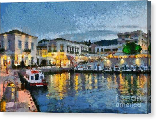 Spetses Town During Dusk Time Canvas Print