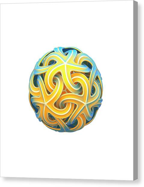 Soccer Canvas Print - Sphere Of Interlocking Geometries by David Parker