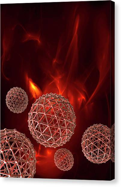 Fire Ball Canvas Print - Spheres On Red Background by Victor Habbick Visions