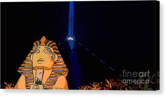 Beam Canvas Print - Sphinx And Luxor Hotel Beam Las Vegas - Pop Art Style - Panorami by Ian Monk