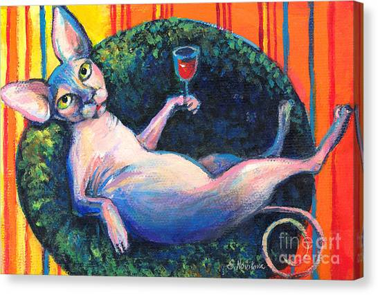 Sphynx Cats Canvas Print - Sphynx Cat Relaxing by Svetlana Novikova