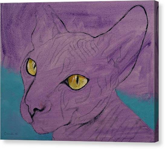 Sphynx Cats Canvas Print - Purple Sphynx by Michael Creese