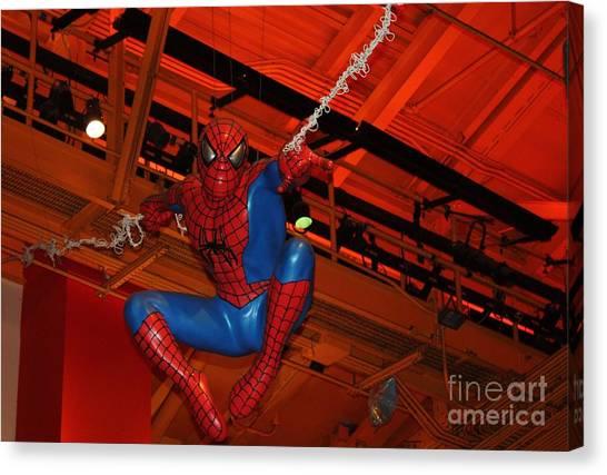 Spiderman Swinging Through The Air Canvas Print