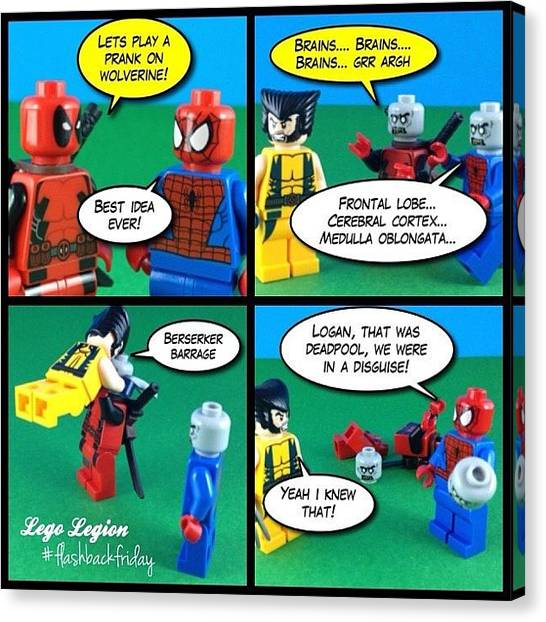 The Legion Canvas Print - Spidey & Deadpool Play A Prank On by Lego Legion