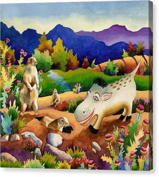 Prairie Canvas Print - Spike The Dhog Chats With Some Friendly Prairie Dhogs by Anne Gifford