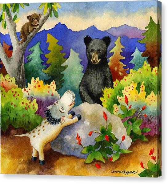 Spike The Dhog Encounters A Mother Bear In The Forest Canvas Print by Anne Gifford