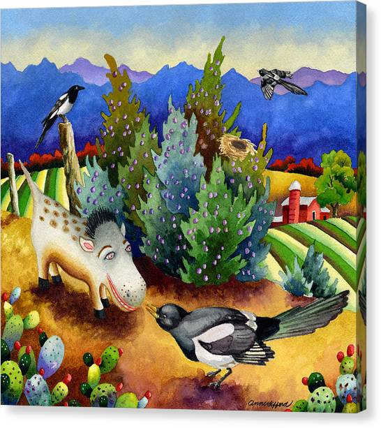 Magpies Canvas Print - Spike The Dhog Meets A Magpie by Anne Gifford