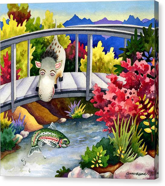 Spike The Dhog Watches A Jumping Trout Canvas Print by Anne Gifford