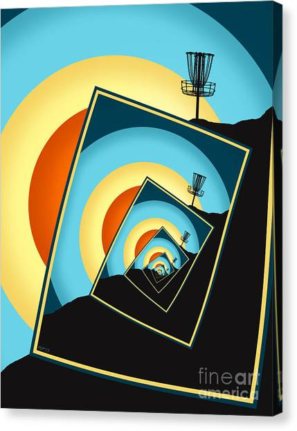 Disc Golf Canvas Print - Spinning Disc Golf Baskets 1 by Phil Perkins
