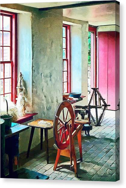 Sewing Canvas Print - Spinning Wheel Near Window by Susan Savad