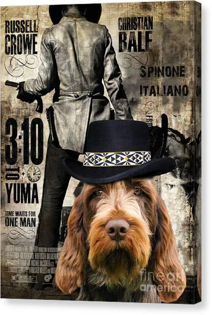 Spinone Canvas Print - Spinone Italiano - Italian Spinone Art Canvas Print - 3 10 To Yuma Movie Poster by Sandra Sij