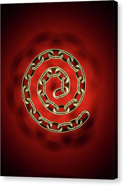 Chain Link Canvas Print - Spiral Chain by Patrick Llewelyn-davies/science Photo Library