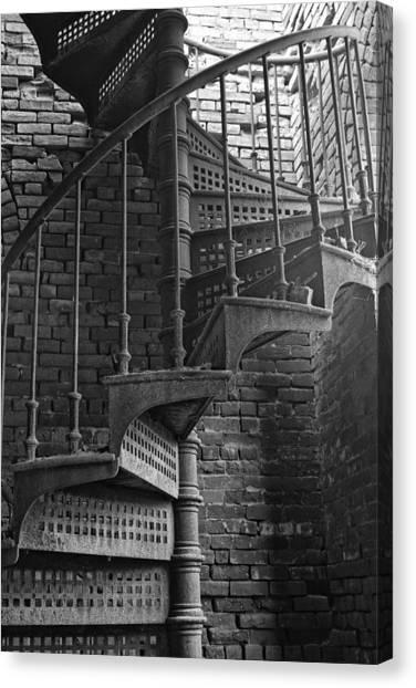 Spiral Staircase In B And W Canvas Print