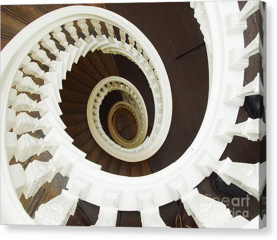 Spiral Stairs From Above Canvas Print