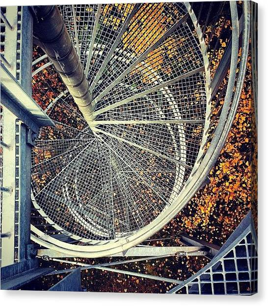 Metallic Canvas Print - Spiral Stairs Of An Observation Deck. - by Manuela Kohl