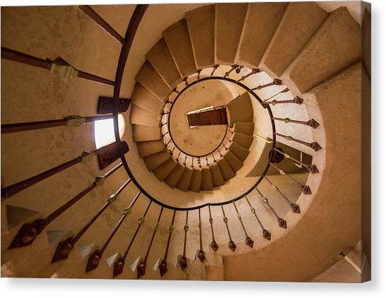 Scotty Canvas Print - Spiral Stairway In Scotty's Castle by Chuck Haney