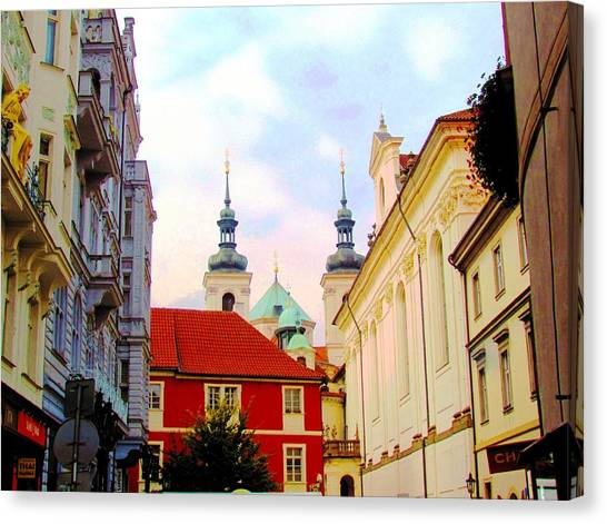 Prague Canvas Print - Spires Of St. Nicholas Cathedral In Old Town Prague by Elaine Weiss