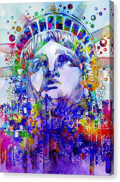 Statue Portrait Canvas Print - Spirit Of The City 2 by Bekim Art