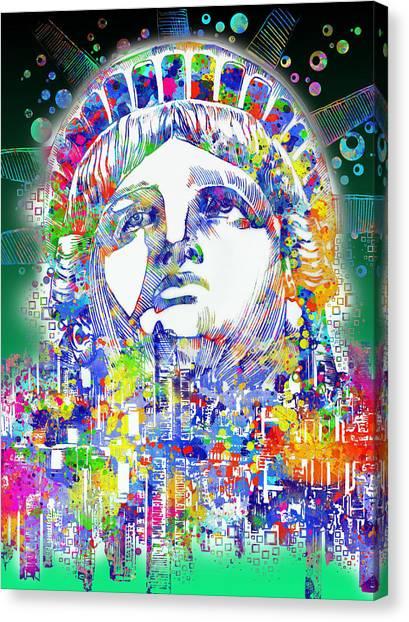 Statue Portrait Canvas Print - Spirit Of The City 4 by Bekim Art