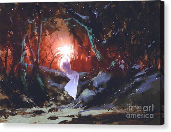 Magician Canvas Print - Spirit Of The Enchanted Forest,woman In by Tithi Luadthong