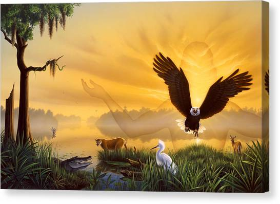 Egrets Canvas Print - Spirit Of The Everglades by Jerry LoFaro