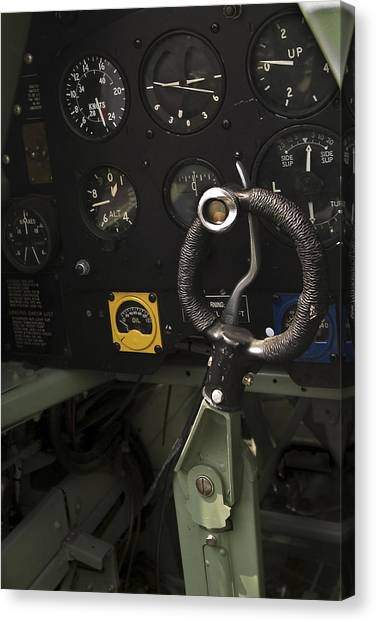 Cockpits Canvas Print - Spitfire Cockpit by Adam Romanowicz