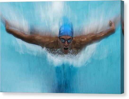 Swimming Canvas Print - Splash by Milan Malovrh