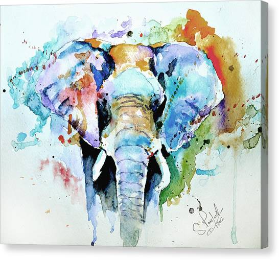 Elephants Canvas Print - Splash Of Colour by Steven Ponsford