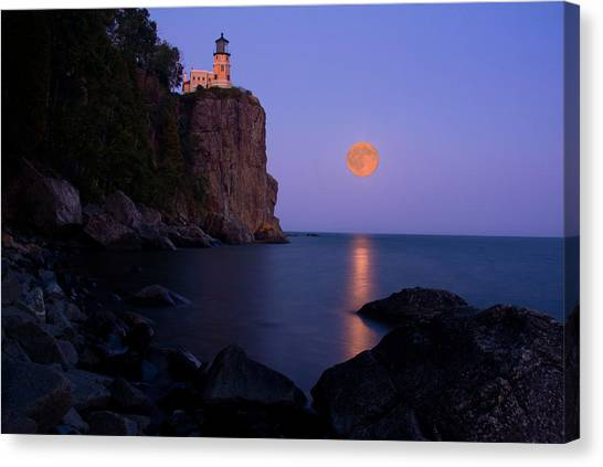 Split Rock Lighthouse - Full Moon Canvas Print