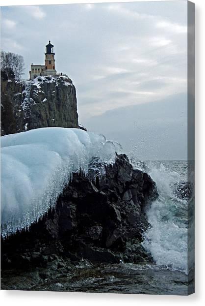 Split Rock Lighthouse Winter Canvas Print